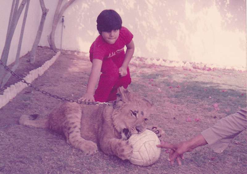 filmmaker mohammed naqvi as a child with his pet lion